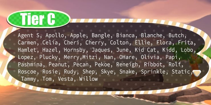 Animal Crossing New Horizon Villager Tier List Game Rant
