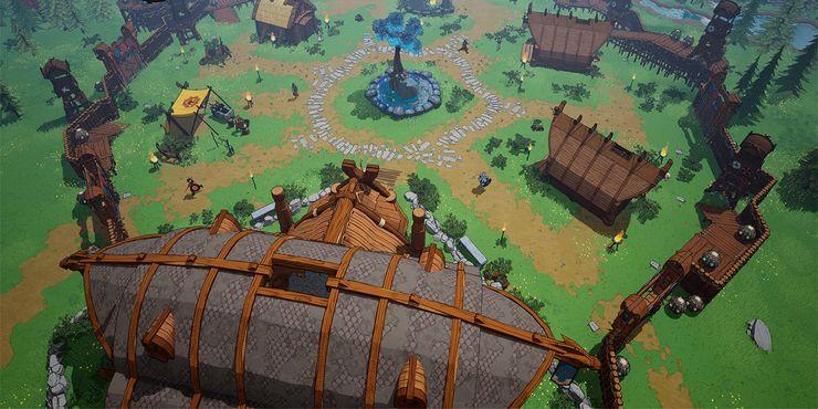 Деревня в Tribes of Midgard построек по кругу