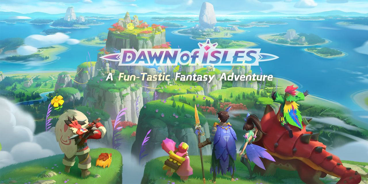 Dawn-of-Isles-mobile-game-cover-image-with-adventurers-overlooking-island
